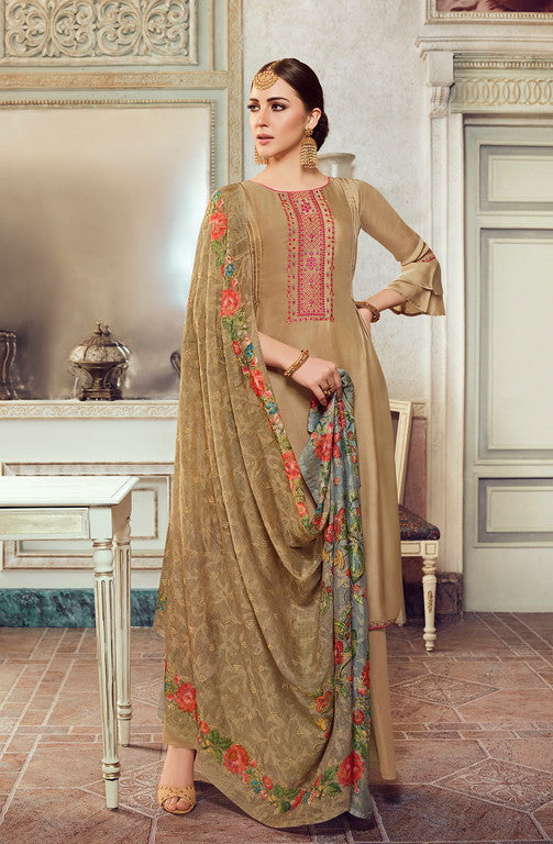 Khaki Color Unique Designer Fabric  Unstiched Dress Material -  Lopa Collection  YF#10887