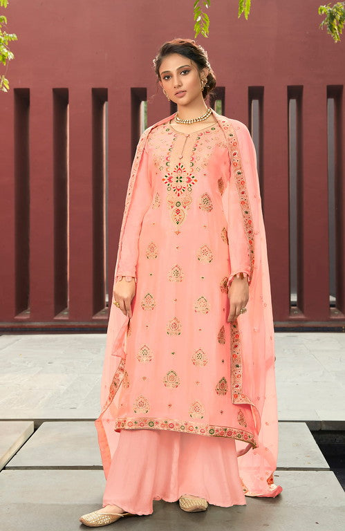 Pinkish Peach Color Silk Minakari Jacquard With Chiffon Dupatta Unstiched Dress Material -  Shraviya Collection  YF#10903