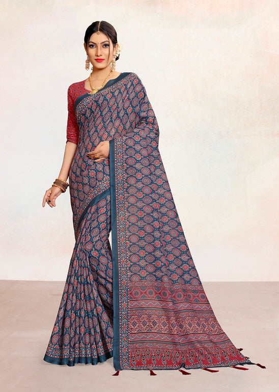 Blue and Red Color Linen Cotton Summer Saree- Jevika Collection  YF#11207