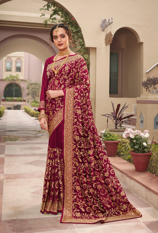 Wine Color Vichitra SilkFestive Wear Saree- Juvika Collection  YF#11219