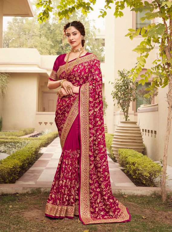 Rani Pink  Color Vichitra SilkFestive Wear Saree- Juvika Collection  YF#11223