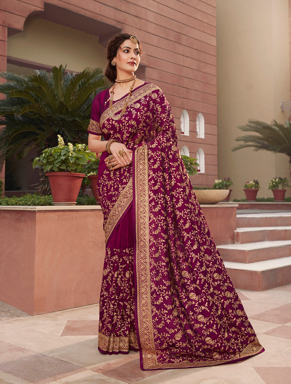 Purplish Pink Color Vichitra SilkFestive Wear Saree- Juvika Collection  YF#11224