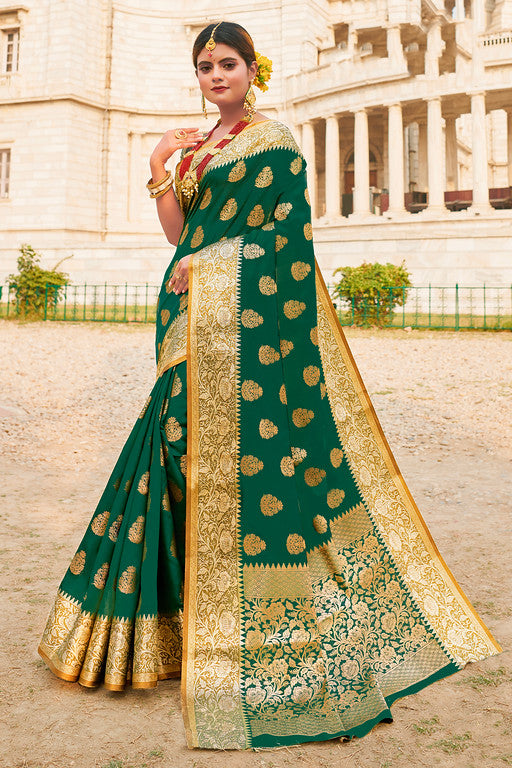 Green Color Silk with Woven Jacquard Work Festive Wear Saree- Binita Collection  YF#11180