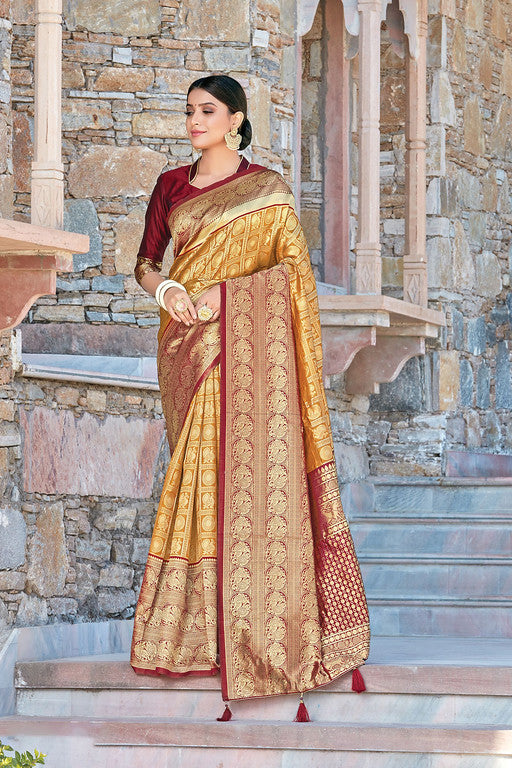 Mustard and Maroon Color Silk with Woven Jacquard Work Festive Wear Saree- Lekha Collection  YF#11183