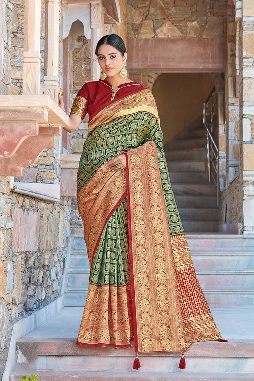 Green and Maroon Color Silk with Woven Jacquard Work Festive Wear Saree- Lekha Collection  YF#11186