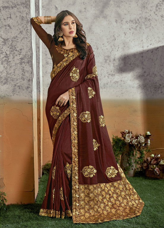 Brown Color Banarasi and Vichitra SilkFestive Wear Saree- Myra Collection  YF#11196
