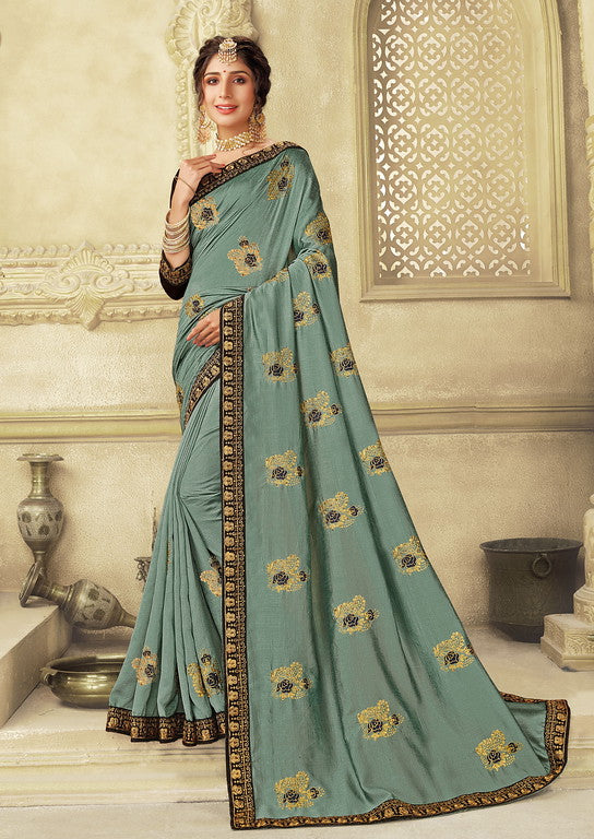 Grey Color Vichitra Silk With Resham Jari Embroidery Festive Wear Saree- Siera Collection  YF#11204