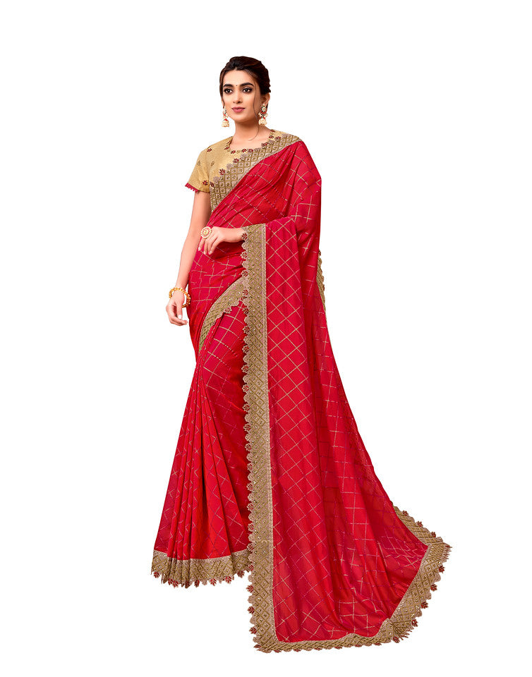 Red Color Silk Georgette Ocassion Wear Saree- Yamika Collection YF#11823