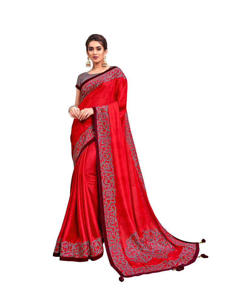 Tomato Red Color Silk Georgette Ocassion Wear Saree- Yamika Collection YF#11828