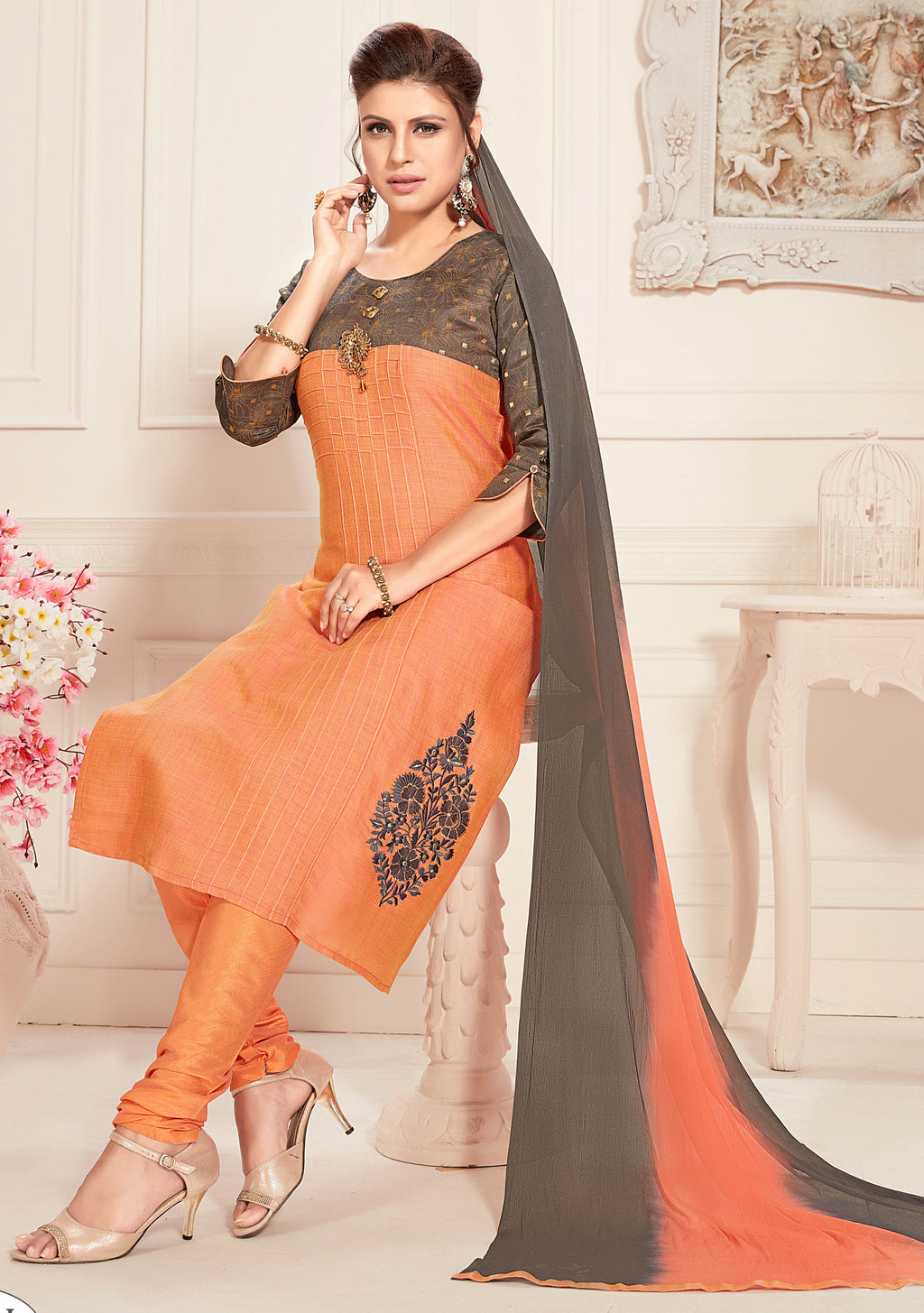 Peach Color Raw Silk Readymade Party Wear Straight Suits NYF-9646