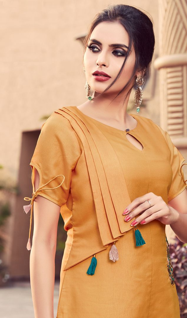 Mustard Yellow Color Muslin Readymade Kurti With Bottom : Monisha Collection NYF-3415 - YellowFashion.in