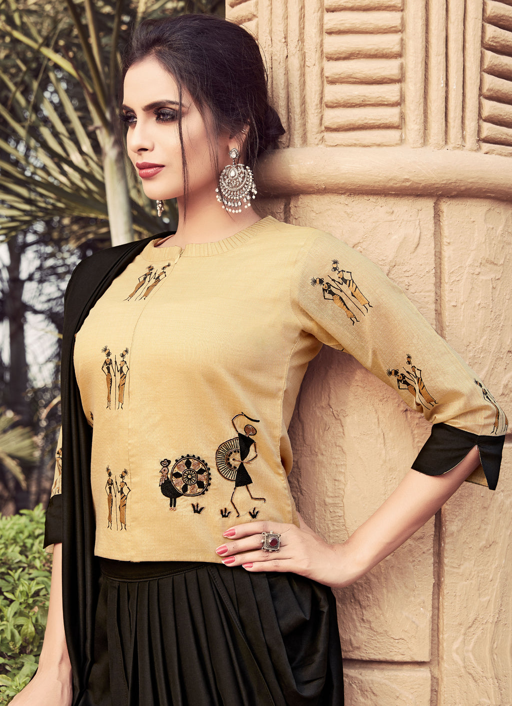 Beige Color Silk Readymade Kurti With Dhoti : Suhasni Collection NYF-3448 - YellowFashion.in