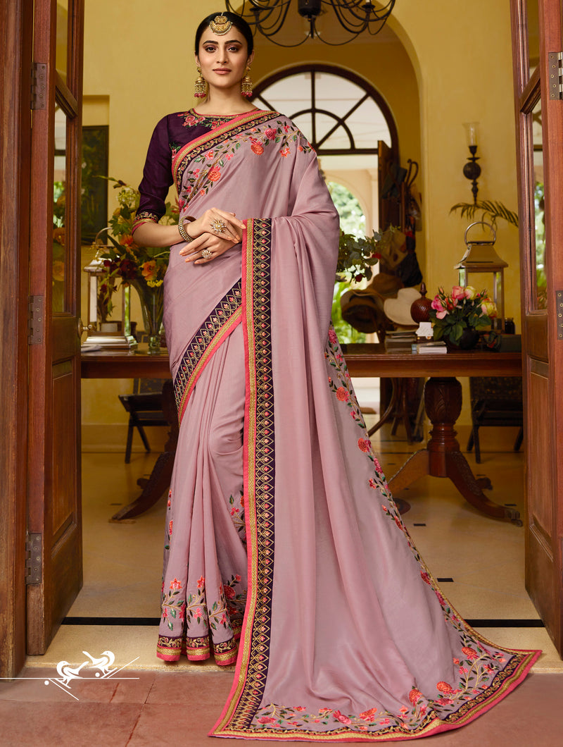 Lavender Color Dola Silk Wedding Function Sarees NYF-7980
