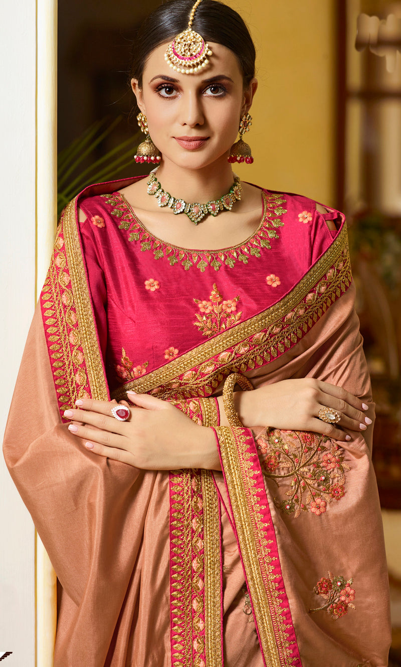 Dusty Peach Color Silk Wedding Function Sarees NYF-7981