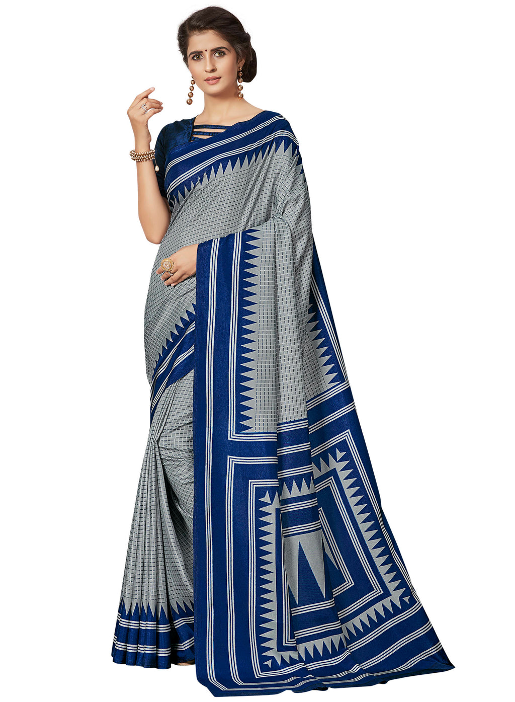 Grey & Blue Color Crepe Printed Office Wear Sarees NYF-7683