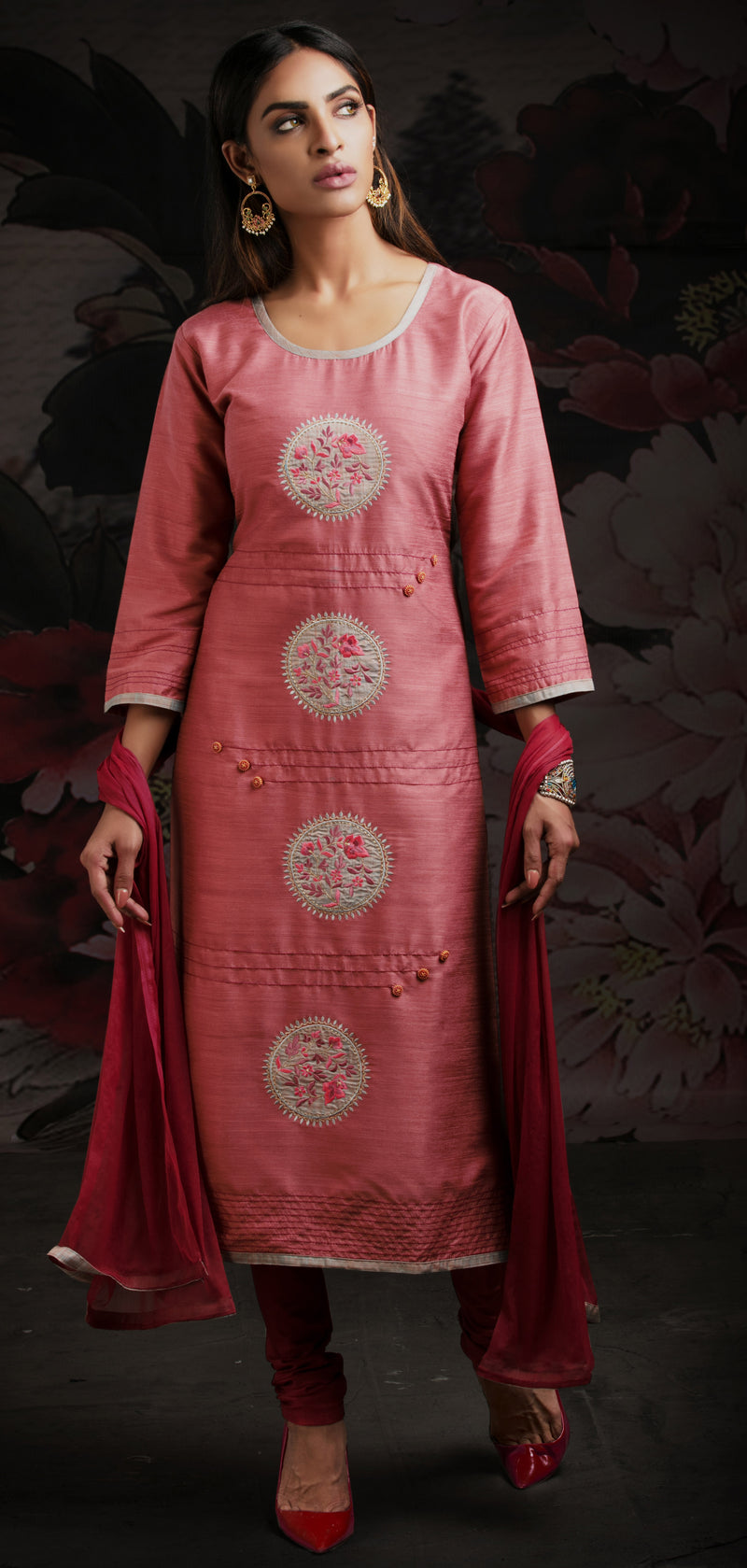 Pink Color Chanderi Readymade Party Wear Straight Suits NYF-9601