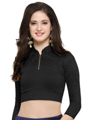 Black Color Cotton Lycra Stretchable Readymade Daily Wear Blouses : Akuti Collection YF-60246