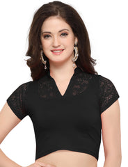 Black Color Cotton Lycra Stretchable Readymade Daily Wear Blouses : Akuti Collection YF-60249