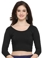 Black Color Cotton Lycra Stretchable Readymade Daily Wear Blouses : Akuti Collection YF-60256