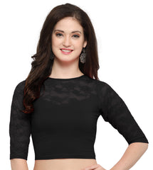 Black Color Cotton Lycra Stretchable Readymade Daily Wear Blouses : Akuti Collection YF-60264
