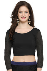 Black Color Cotton Lycra Stretchable Readymade Daily Wear Blouses : Akuti Collection YF-60268