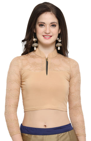 Beige Color Cotton Lycra Stretchable Readymade Daily Wear Blouses : Akuti Collection YF-60273