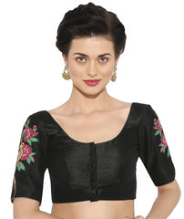 Black Color Banglore silk & Art Raw Silk Readymade Party Wear Blouses (34,36,38,40): Sujil Collection  YF-53467