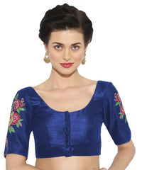Blue Color Banglore silk & Art Raw Silk Readymade Party Wear Blouses (34,36,38,40): Sujil Collection  YF-53471