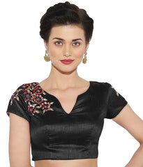 Black Color Banglore silk & Art Raw Silk Readymade Party Wear Blouses (34,36,38,40): Sujil Collection  YF-53479