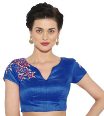 Blue Color Banglore silk & Art Raw Silk Readymade Party Wear Blouses (34,36,38,40): Sujil Collection  YF-53483