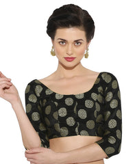 Black Color Brocade Readymade Party Wear Blouses (34,36,38,40): Sujil Collection  YF-53487