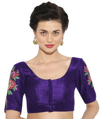 Purple Color Banglore silk & Art Raw Silk Readymade Party Wear Blouses (34,36,38,40): Sujil Collection  YF-53675
