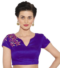 Purple Color Banglore silk & Art Raw Silk Readymade Party Wear Blouses (34,36,38,40): Sujil Collection  YF-53679