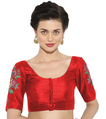 Red Color Banglore silk & Art Raw Silk Readymade Party Wear Blouses (34,36,38,40): Sujil Collection  YF-53763