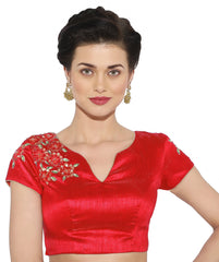 Red Color Banglore silk & Art Raw Silk Readymade Party Wear Blouses (34,36,38,40): Sujil Collection  YF-53791