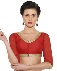 Red Color Bengal silk Readymade Party Wear Blouses (34,36,38,40): Sujil Collection  YF-53795