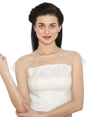 Off White Color Banglore silk Readymade Party Wear Blouses (34,36,38,40): Sujil Collection  YF-53815
