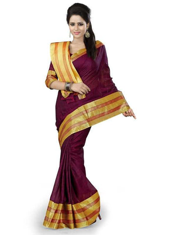 Magenta Color Cotton Office Wear Sarees : Suhasini Collection  YF-29430