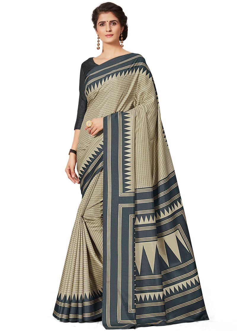 Cream & Grey Color Crepe Printed Office Wear Sarees NYF-7684