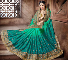 Light & Dark Green Color Crepe Silk Designer Festive Sarees : Niyara Collection  YF-51804
