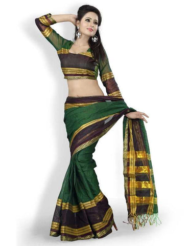 Green Color Cotton Office Wear Sarees : Suhasini Collection  YF-29432