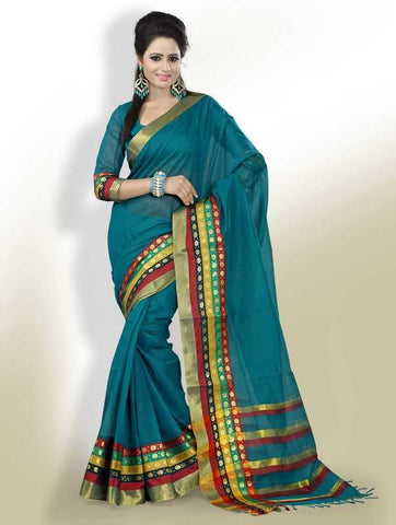 Rama Green Color Cotton Office Wear Sarees : Suhasini Collection  YF-29434