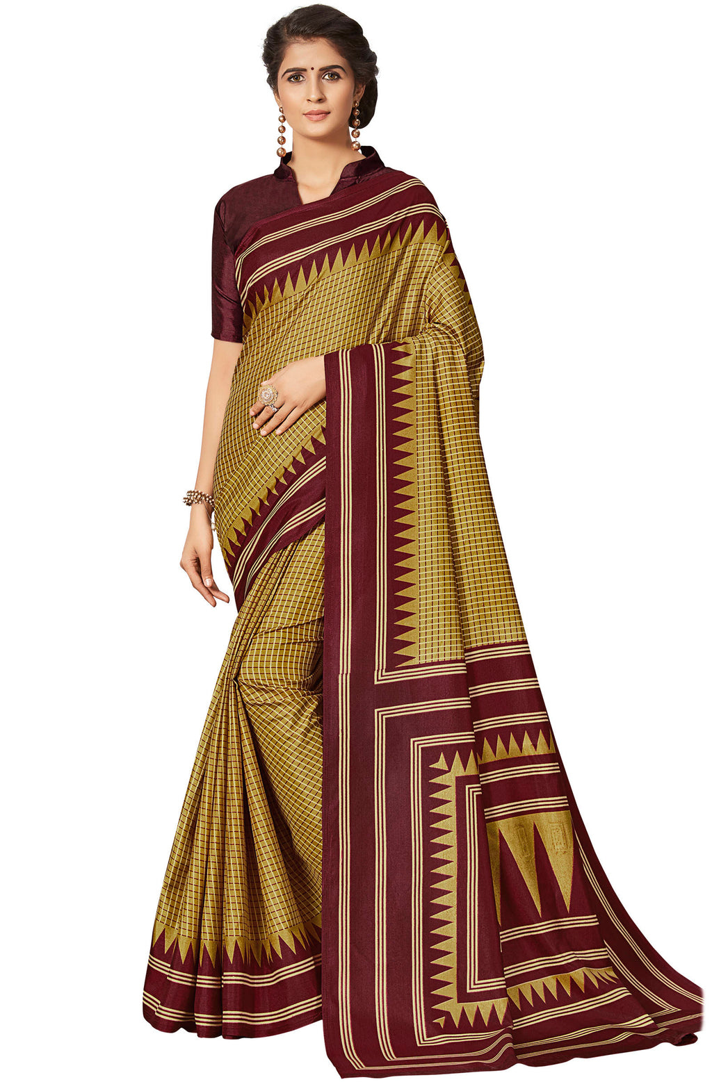 Yellow & Red Color Crepe Printed Office Wear Sarees NYF-7685