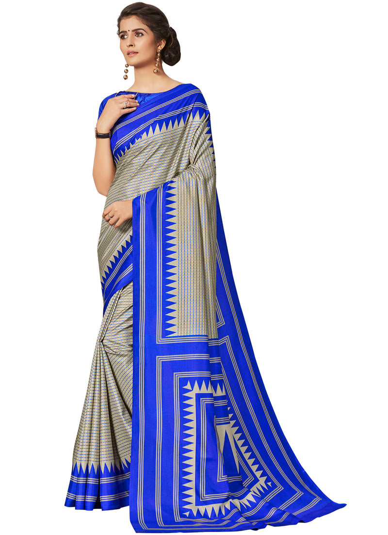 Blue Color Crepe Printed Office Wear Sarees NYF-7686
