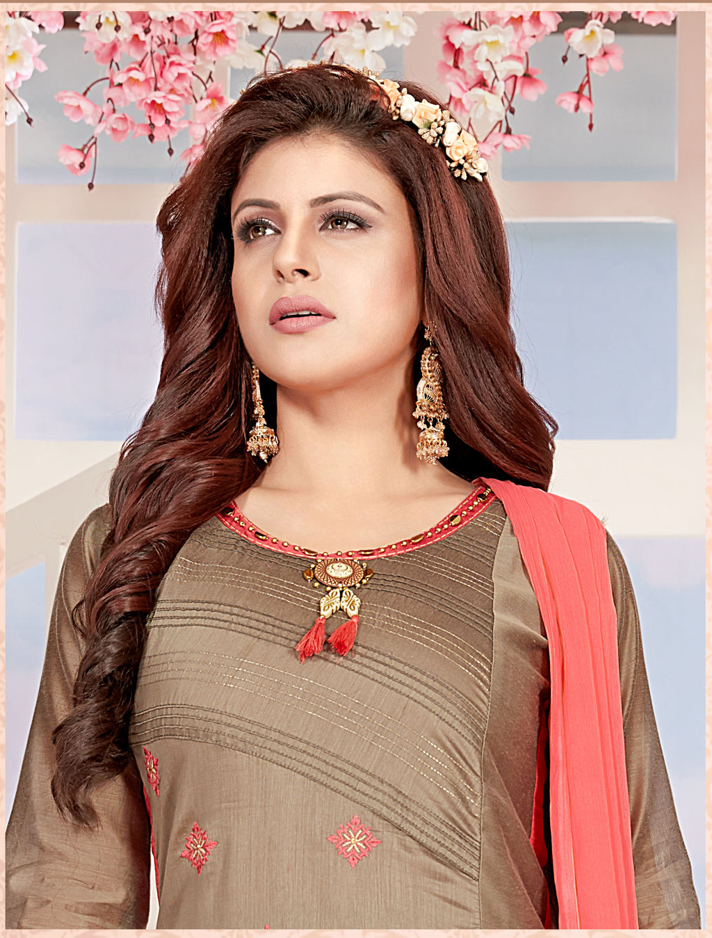 Grey Color Chanderi Readymade Party Wear Straight Suits NYF-9649