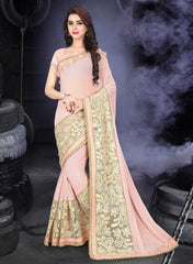 Pink Color Fancy Georgette Designer Festive Wear Sarees : Samveg Collection  YF-49860