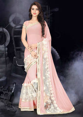 Pink Color Fancy Georgette Designer Festive Wear Sarees : Samveg Collection  YF-49862
