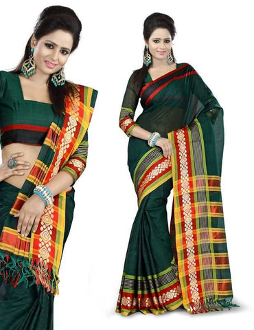 Green Color Cotton Office Wear Sarees : Suhasini Collection  YF-29435
