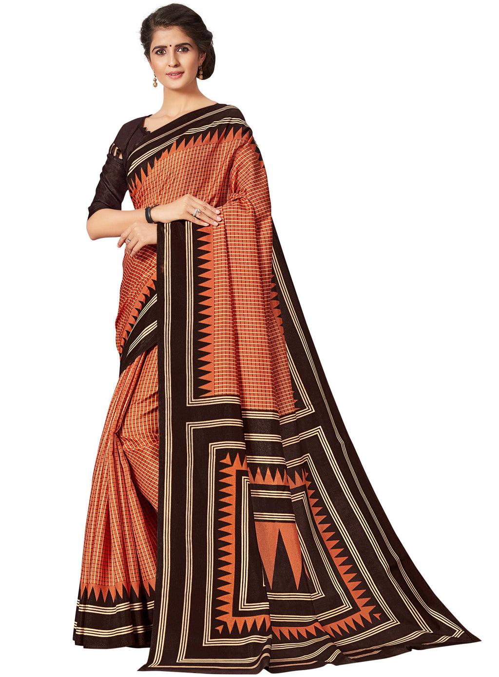 Orange & Brown Color Crepe Printed Office Wear Sarees NYF-7687