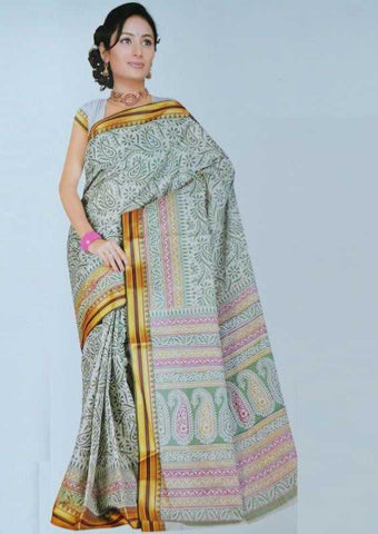 Off White and Green Color Bombay Cotton Daily Wear Sarees : Mihika Collection  YF-22023